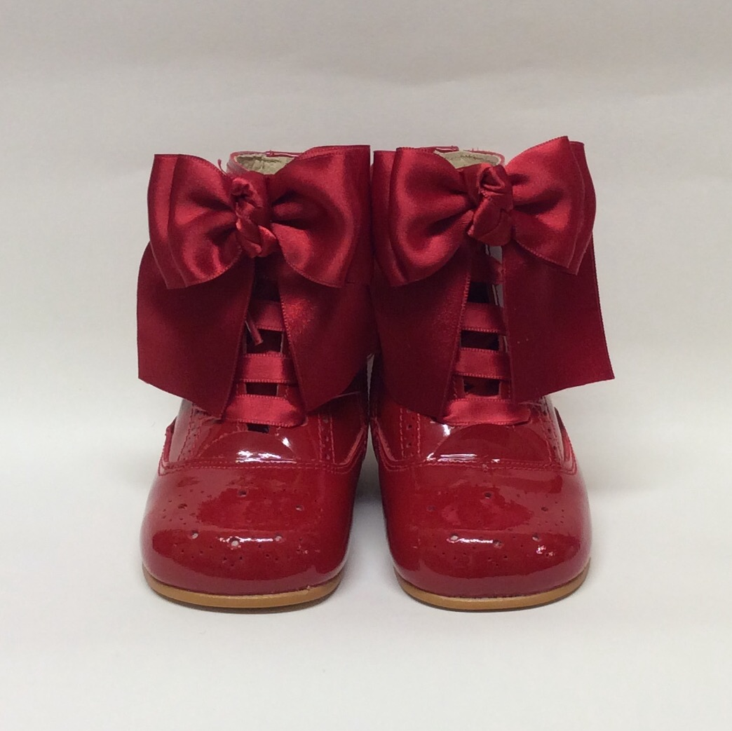 Rose Satin Bow Boots, Red
