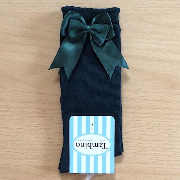 Tambino Double Satin Bow Socks, Bottle Green