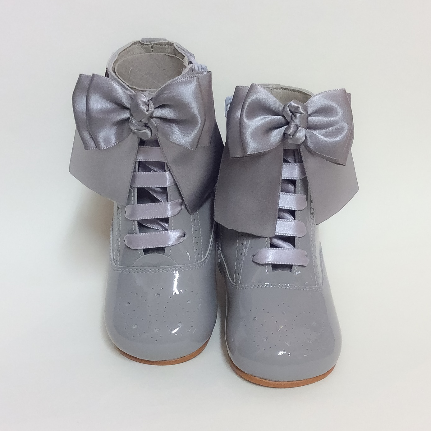 Rose Satin Bow Boots, Grey