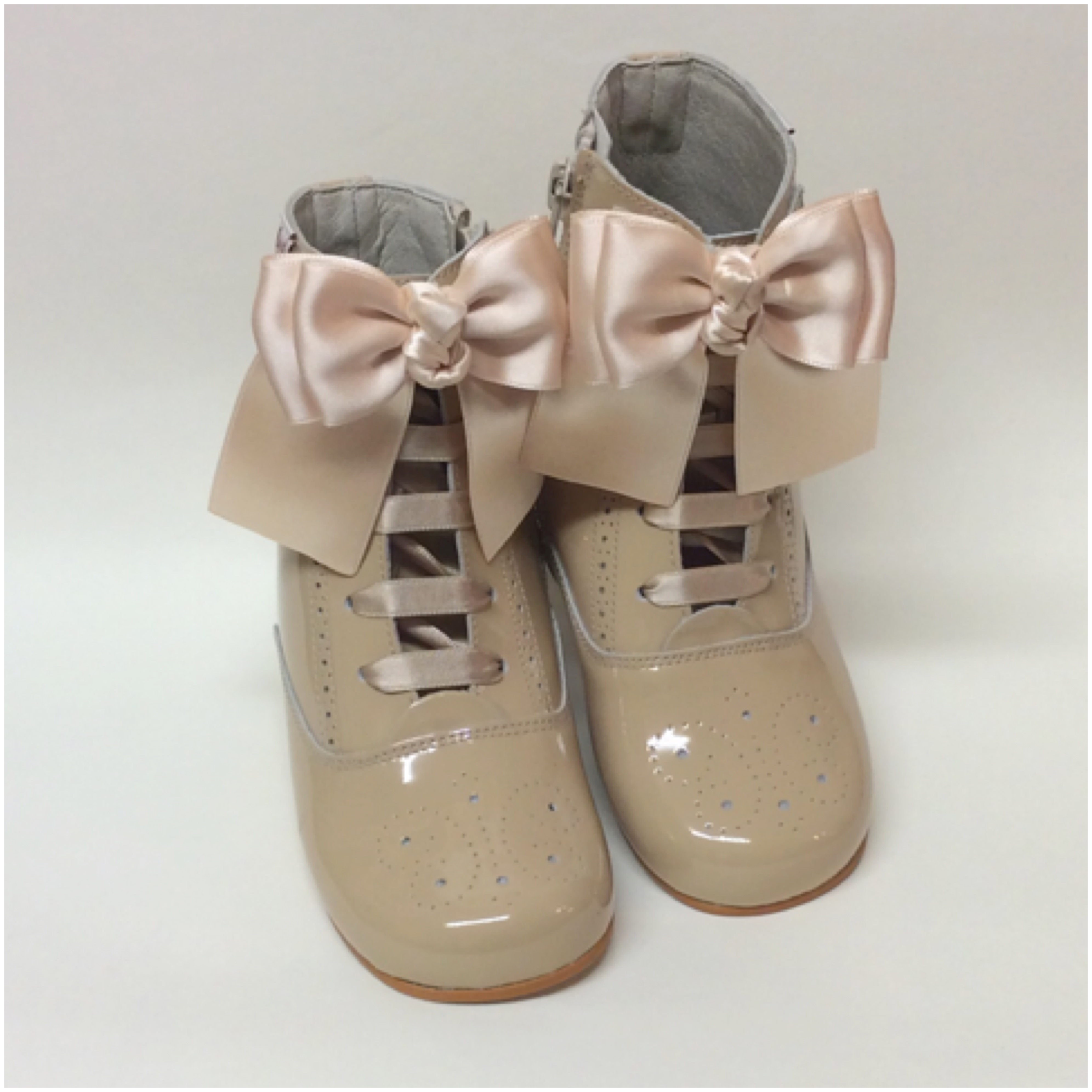 Rose Satin Bow Boots, Camel