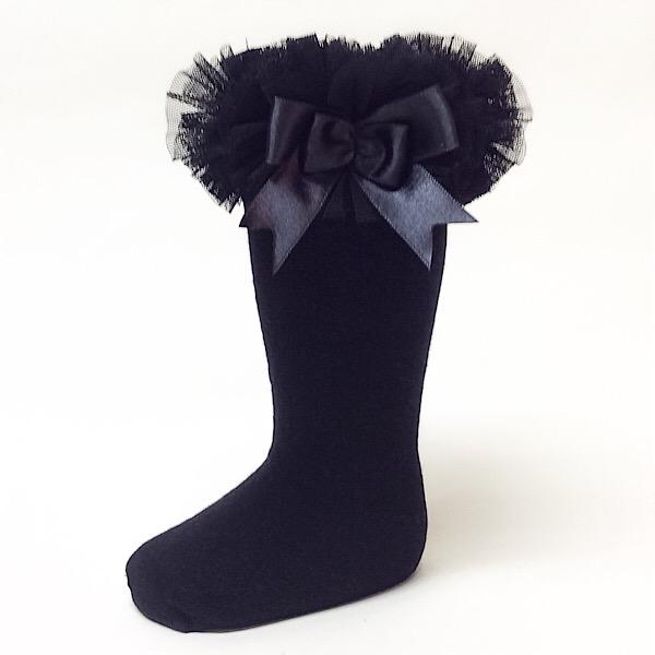 Couche Tot Knee High Tutu Socks, Black