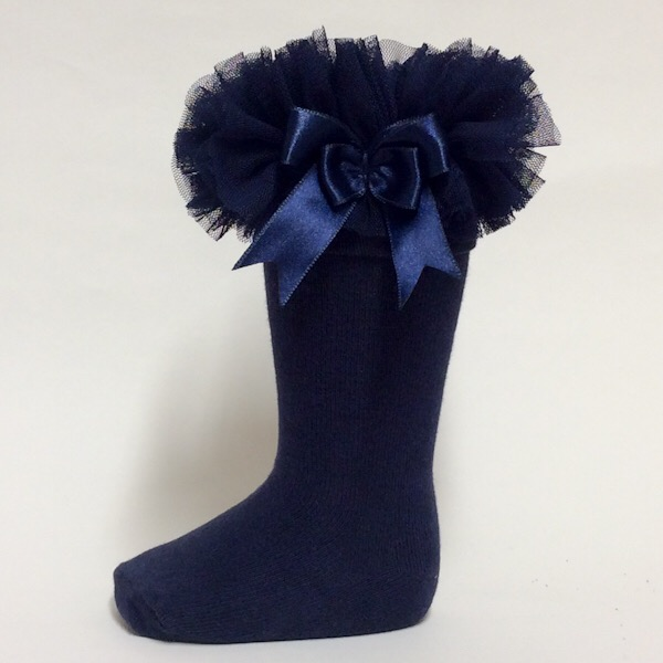 Couche Tot Knee High Tutu Socks, Navy