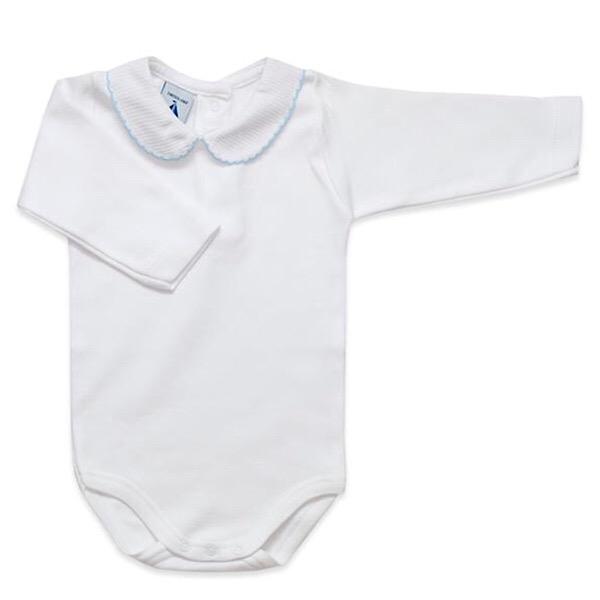 Babidu Long Sleeve Peter Pan Collar Vest, Blue Trim