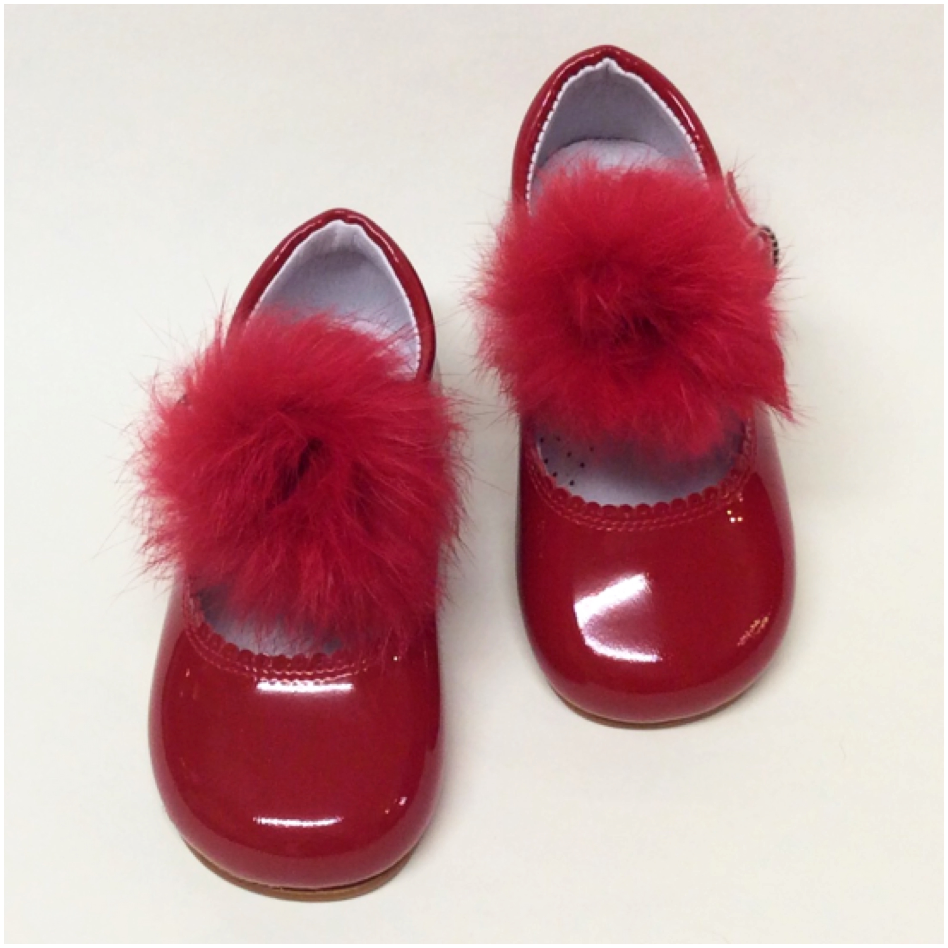 Bambi Maryjanes With Bow Or Fur, Red