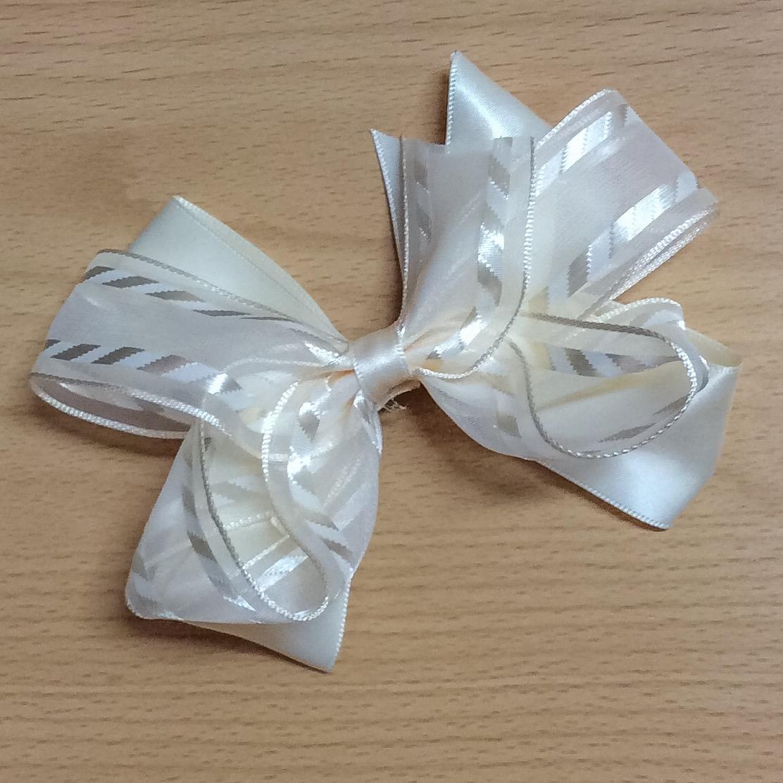 Cream satin & organza boutique hair bow
