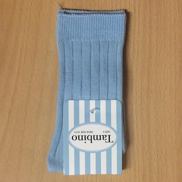 Tambino Plain Ribbed Socks, Blue