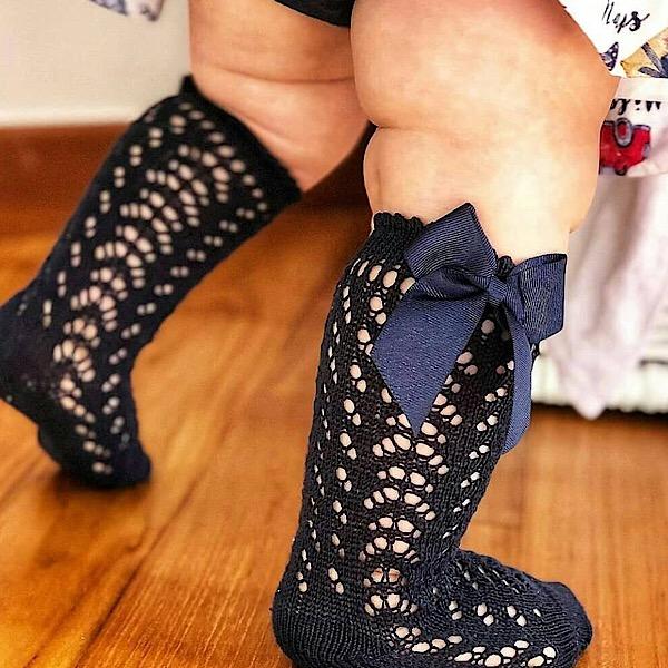 Condor Perle Open Work Knee Socks, Navy