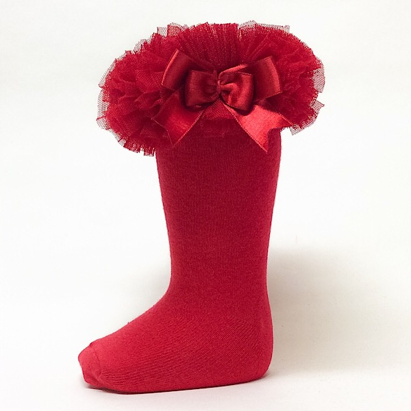 Couche Tot Knee High Tutu Socks, Red