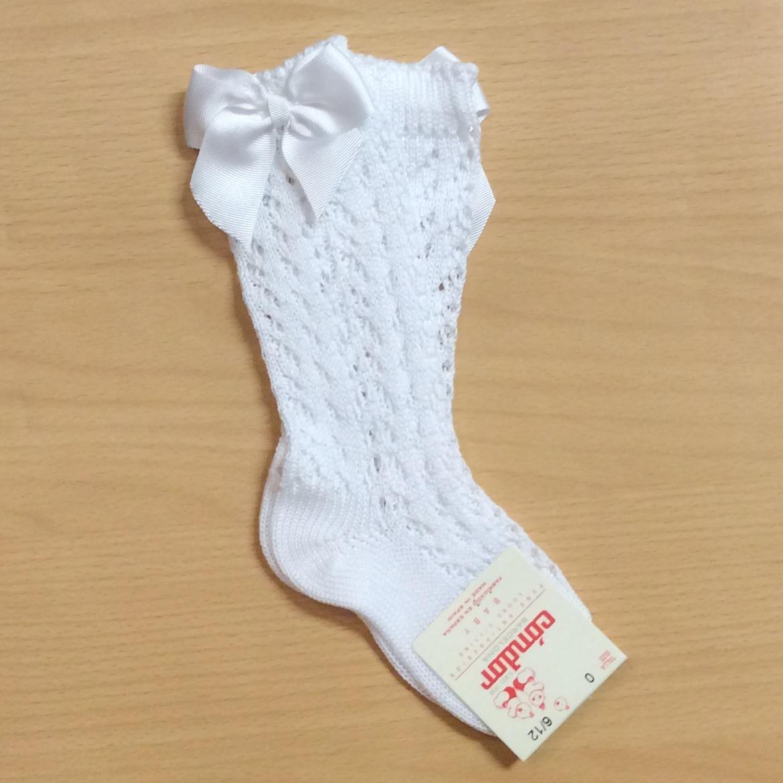 Condor Perle Open Work Knee Socks, White