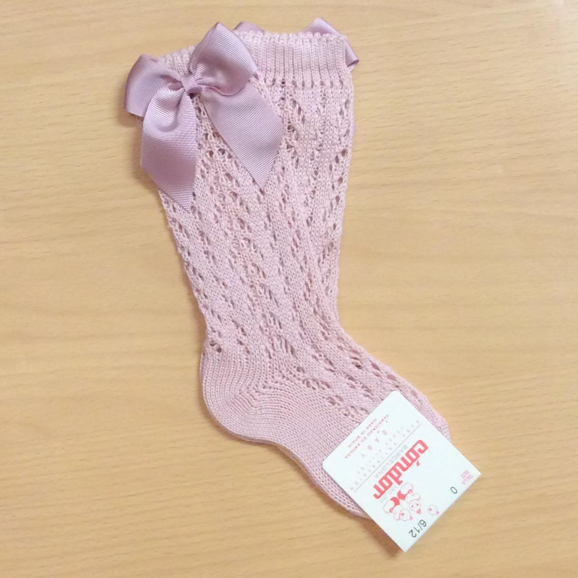 Condor Perle Open Work Knee Socks, Dusky Pink