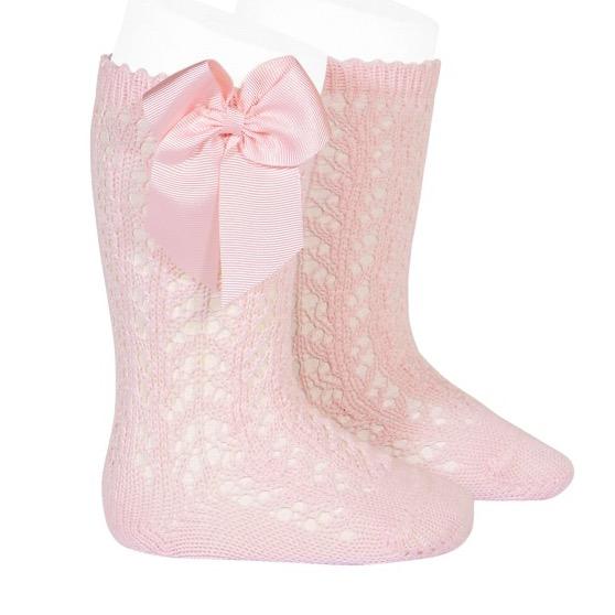 Condor Perle Open Work Knee Socks, Pink