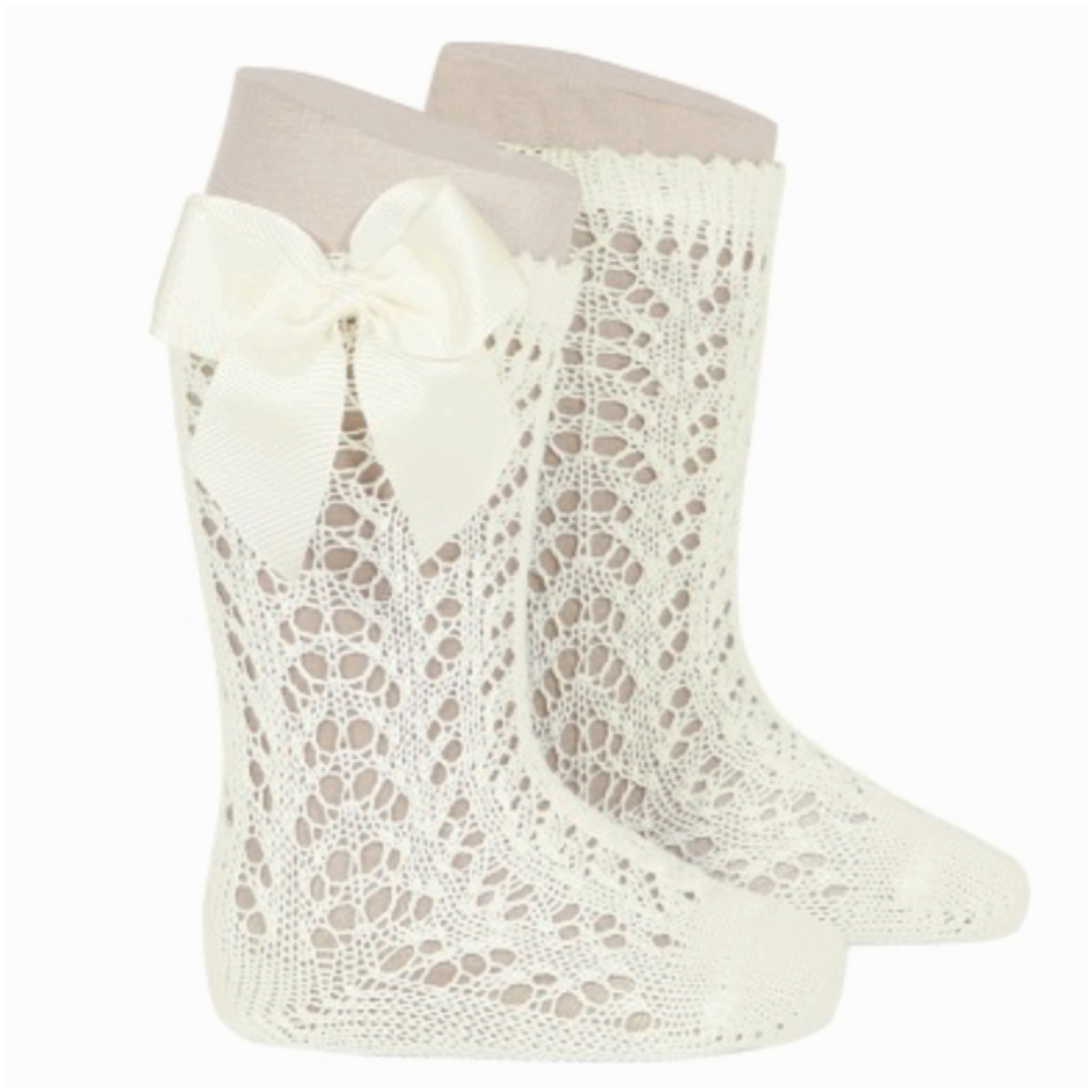 Condor Perle Open Work Knee Socks, Cream