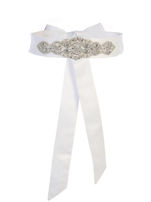 White Satin Rhinestone Sash
