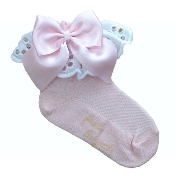 Pretty Originals Broderie Frill Ankle Socks, Pink & Cream