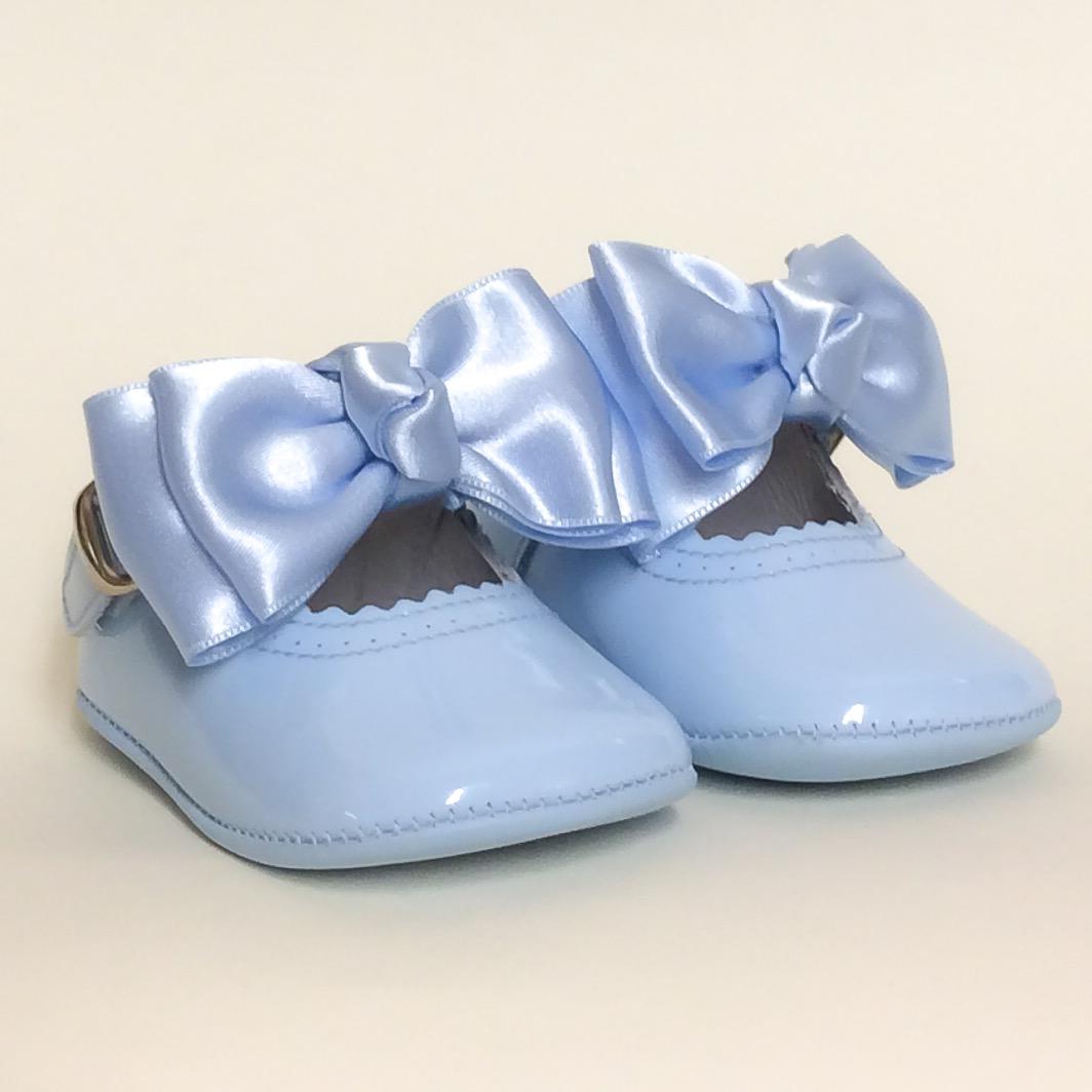 Chantelle Satin Bow Pram Shoes, Blue