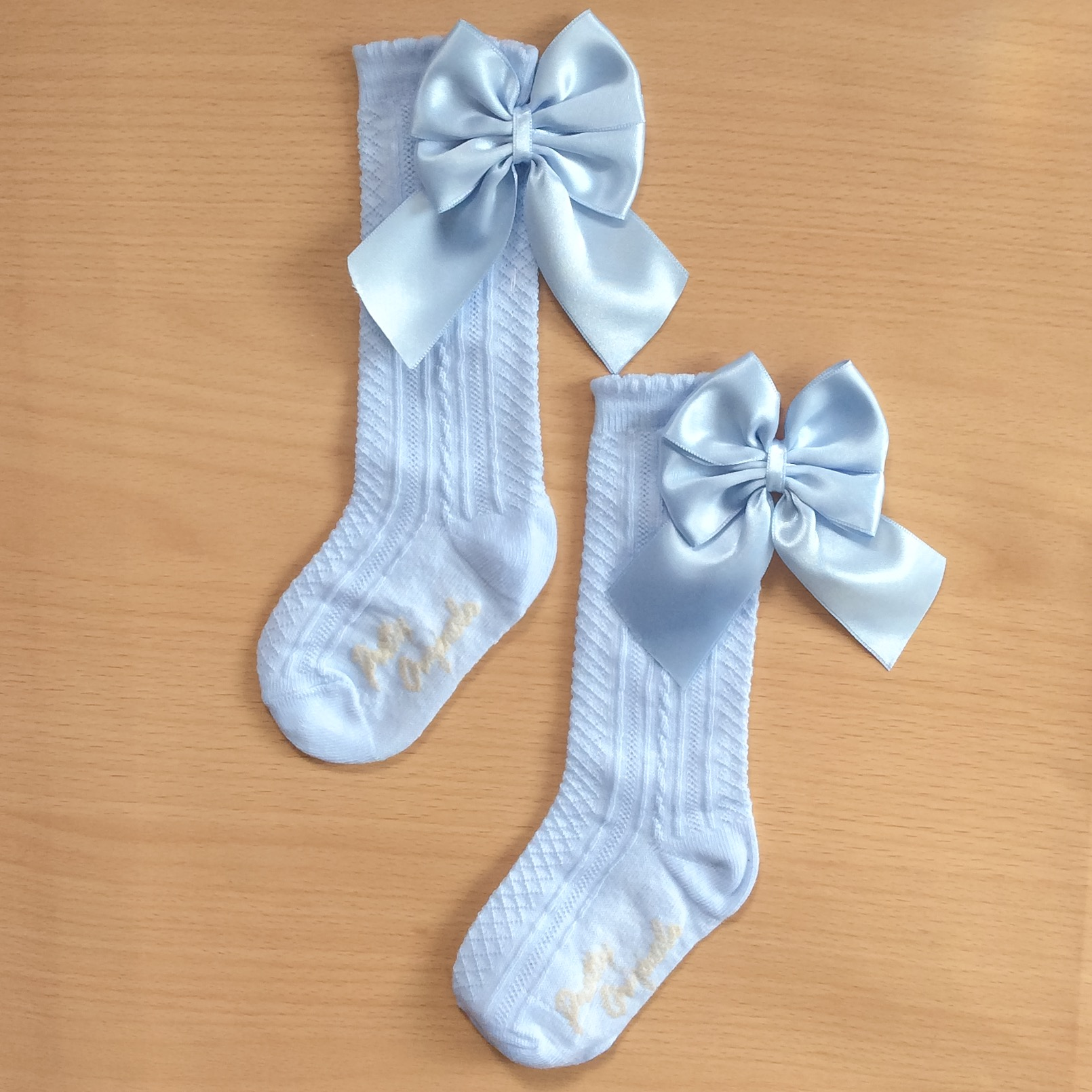 Pretty Originals Double Back Bow Socks, Blue