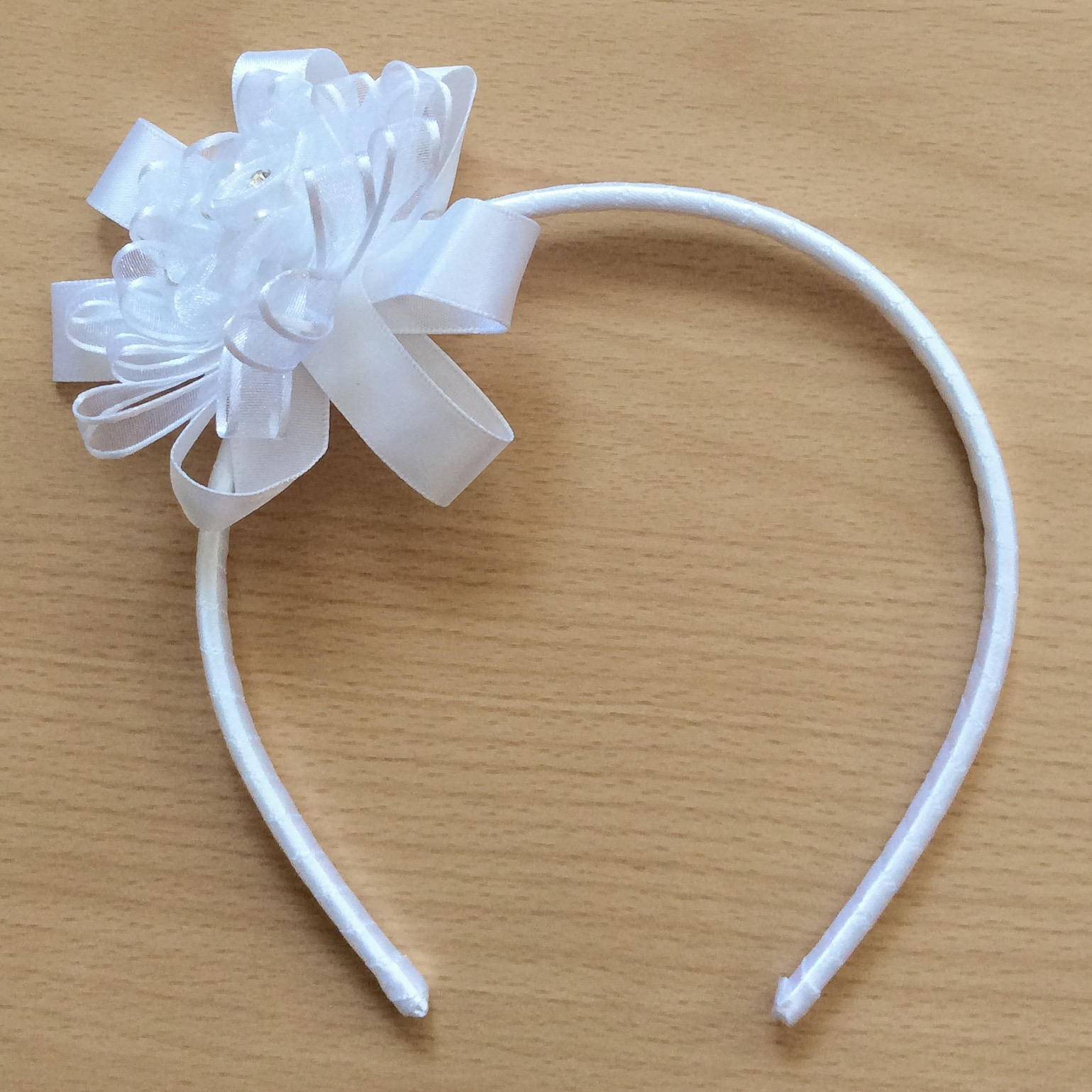 Ribbon Flower Headband, White, Pink & Ivory