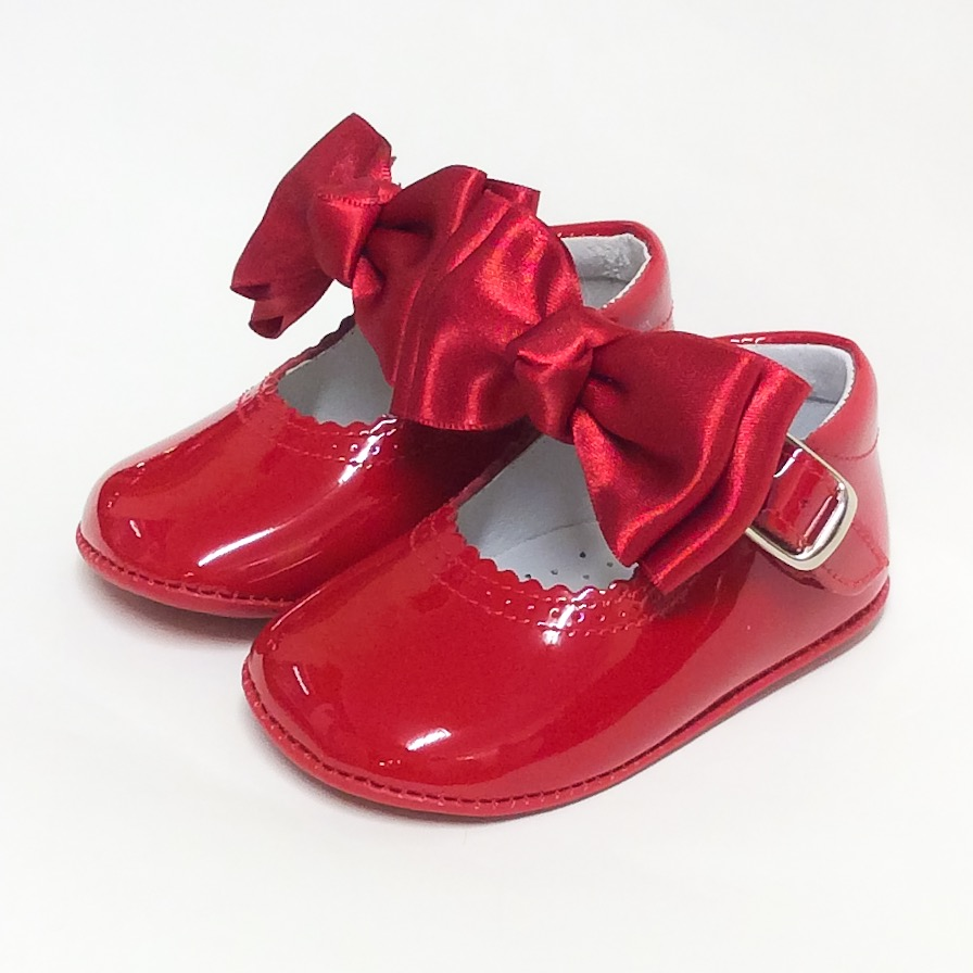 Chantelle Pram Shoes With Satin Or Fur Bow, Red