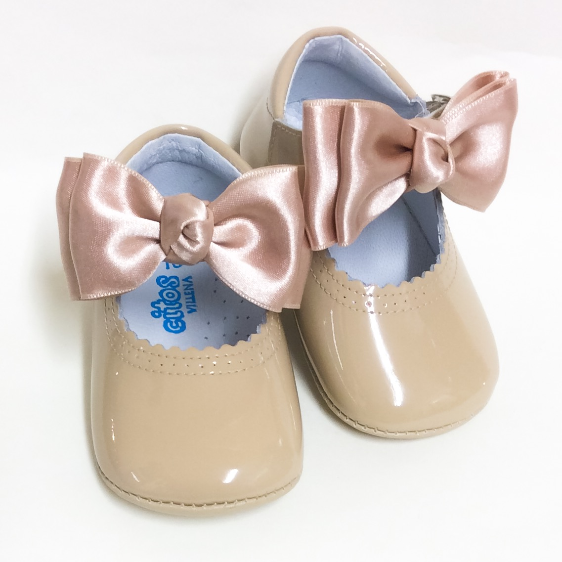 Chantelle Satin Bow Pram Shoes, Camel