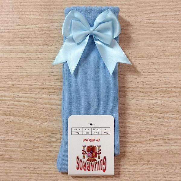 Guijarros Satin Bow Socks, Blue
