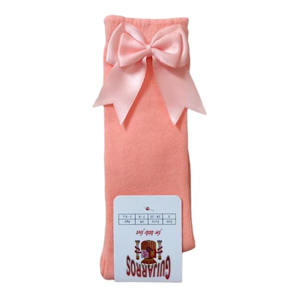 Guijarros Satin Bow Socks, Peach