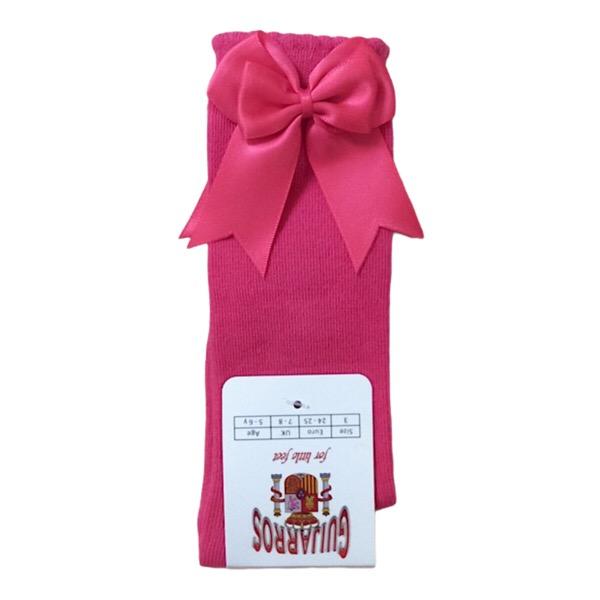 Guijarros Satin Bow Socks, Fuchsia