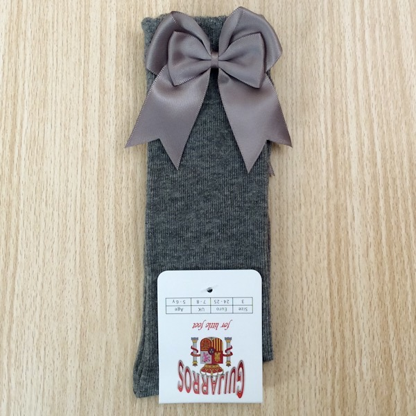 Guijarros Satin Bow Socks, Grey