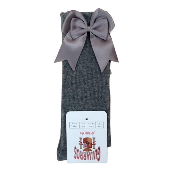 Guijarros Satin Bow Socks, Grey