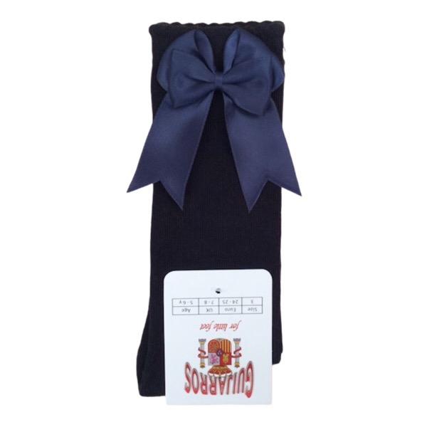 Guijarros Satin Bow Socks, Navy