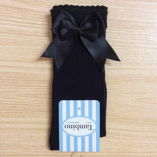Tambino Double Satin Bow Socks, Black