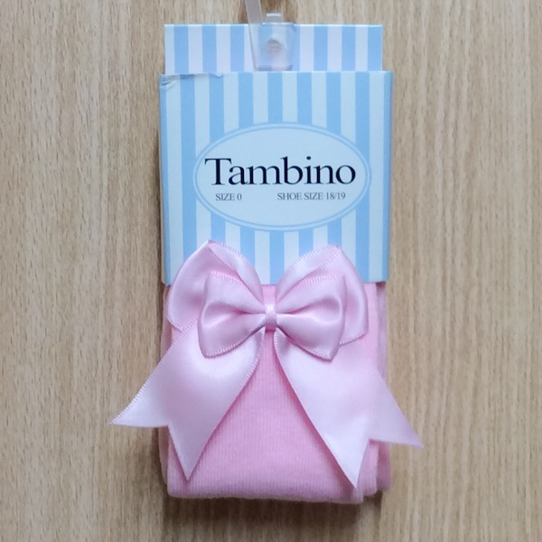 Tambino Double Satin Bow Tights, Pink