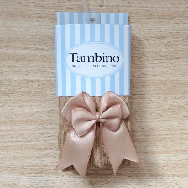 Tambino Double Satin Bow Tights, Camel