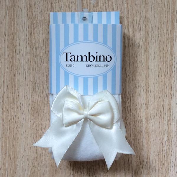 Tambino Double Satin Bow Tights, Cream