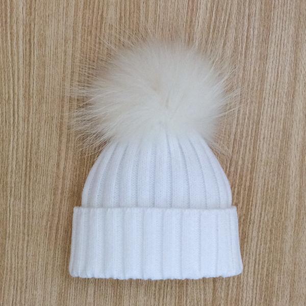 Rahigo Fur Pom Pom Hat, White