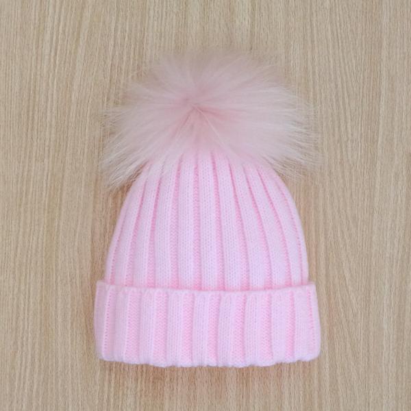 Rahigo Fur Pom Pom Hat Pink Bobbyann