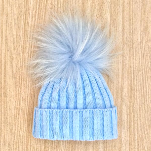 Rahigo Fur Pom Pom Hat, Blue