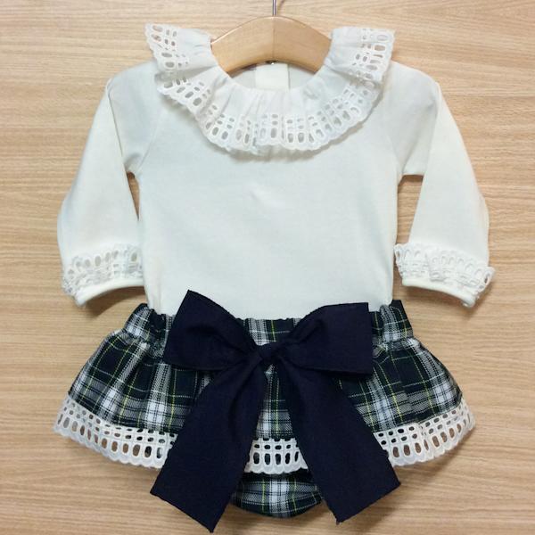 Phi Clothing Navy Tartan Bloomer Set