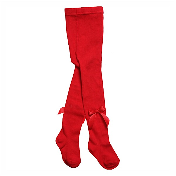 Carlomagno Satin Bow Tights, Red