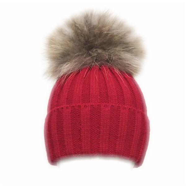 Rahigo Fur Pom Pom Hat, Red