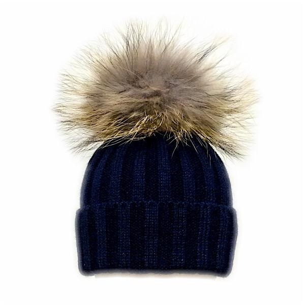 Rahigo Fur Pom Pom Hat, Navy