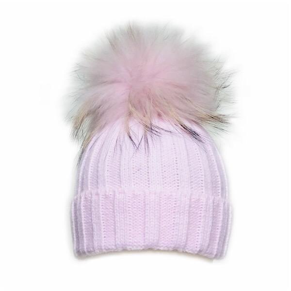 Rahigo Fur Pom Pom Hat, Pink Tipped