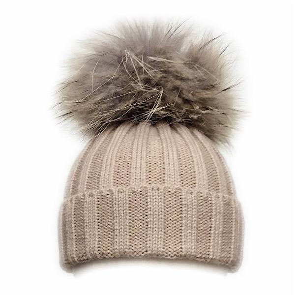 Rahigo Fur Pom Pom Hat, Camel