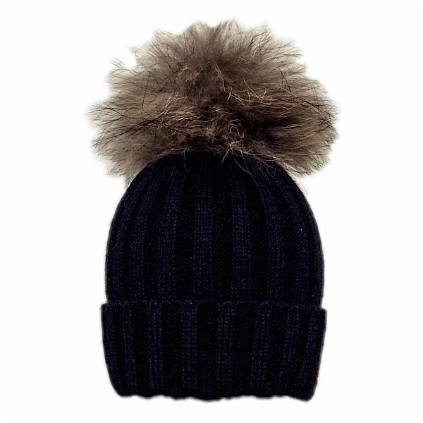 Rahigo Fur Pom Pom Hat, Black