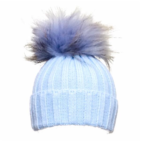 Rahigo Fur Pom Pom Hat, Blue Tipped