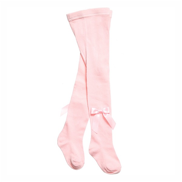 Carlomagno Satin Bow Tights, Pink