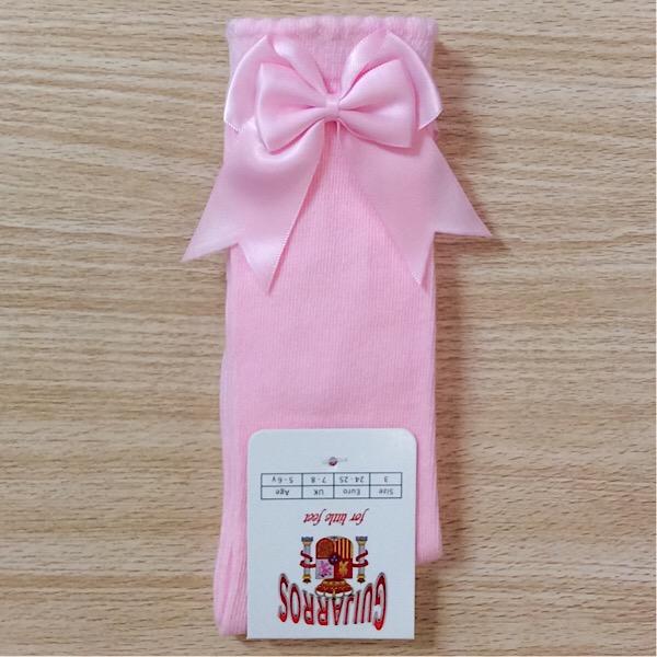 Guijarros Satin Bow Socks, Pink