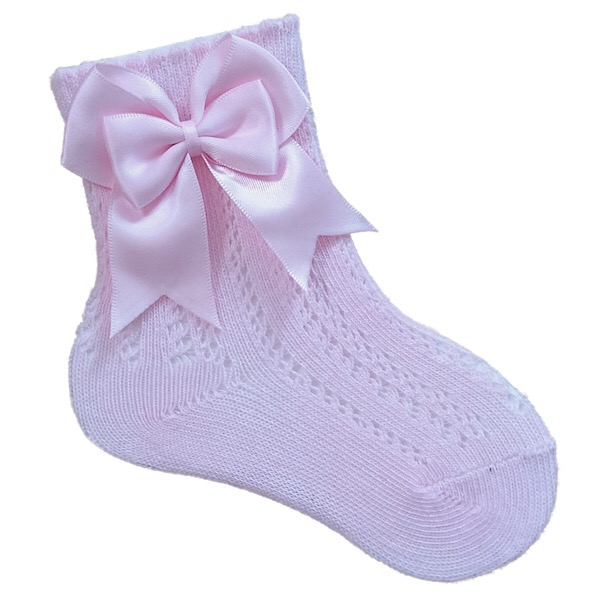 Tambino Open Work Ankle Socks, Pink