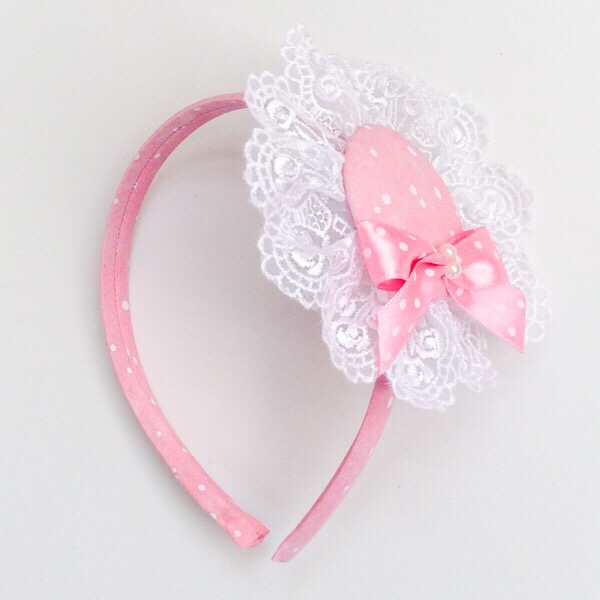 Myla Pink & White Lace Headband