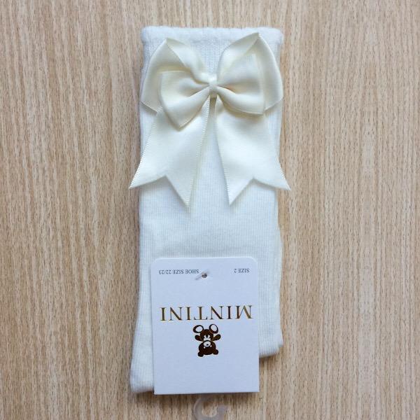 Mintini Satin Bow Socks, Cream