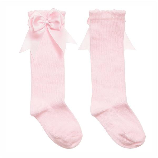 Mintini Satin Bow Socks, Pink